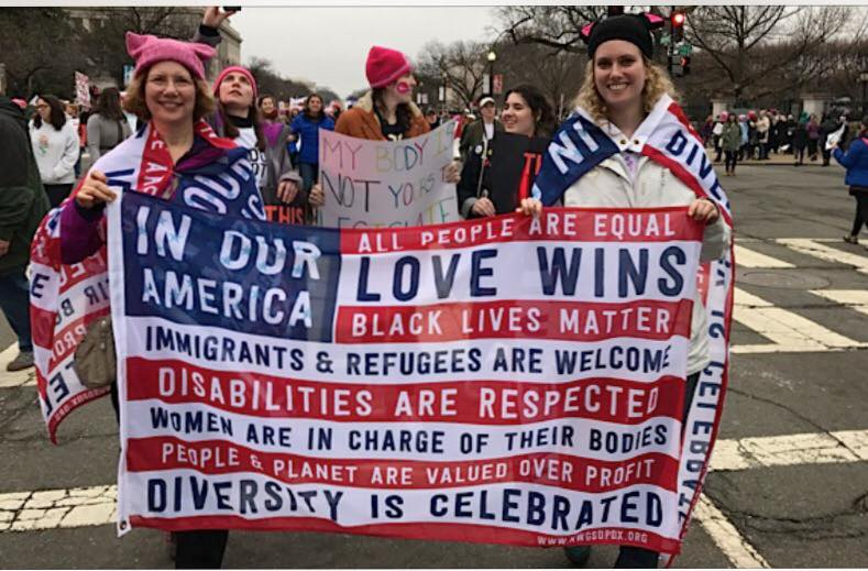 Our flag was proudly carried at Women's Marches everywhere, including Washington D.C.