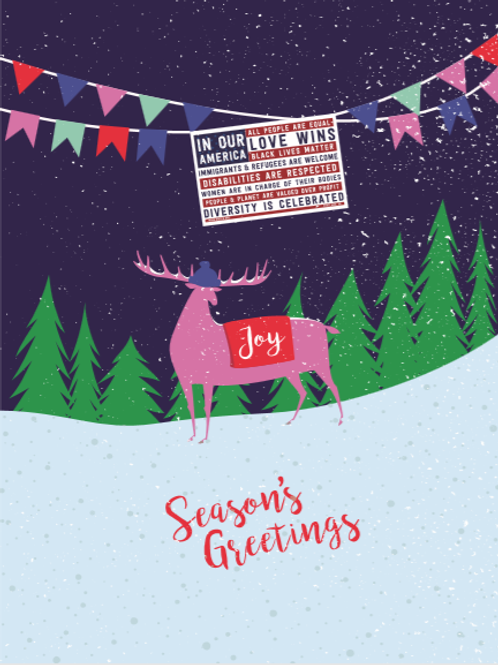"""""""Joy"""" holiday cards (with deer)"""