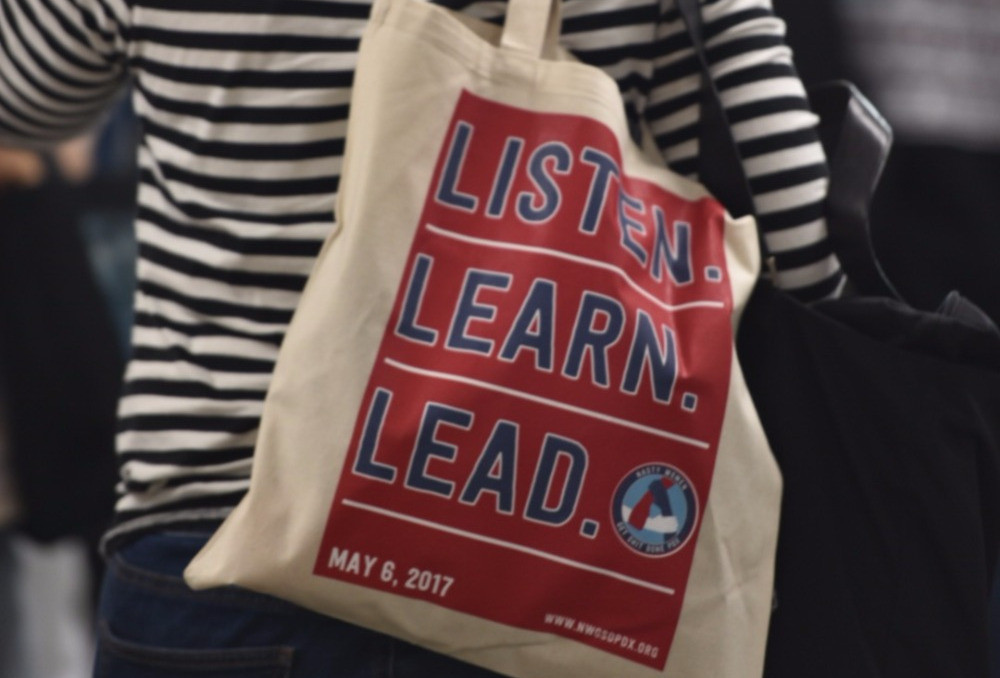 "The ""Listen. Learn. Lead."" tote bags were a huge hit!"