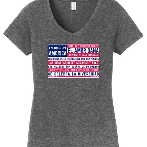 Spanish Fitted In Our America V-Neck T-Shirt