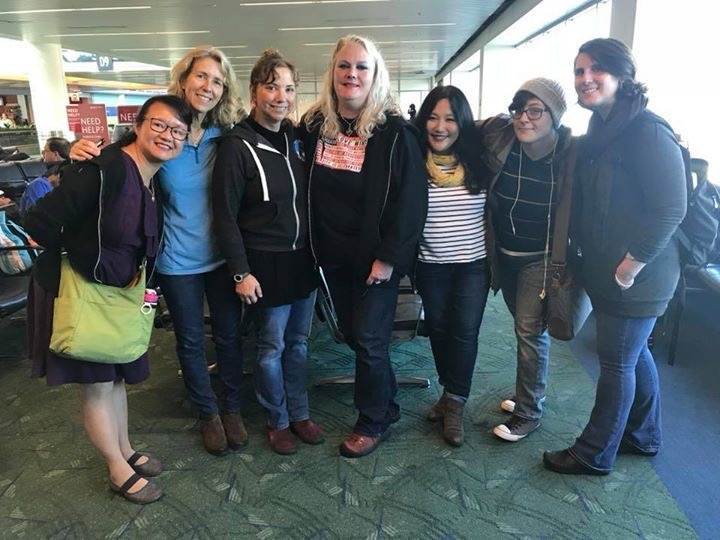 Nasty Women meet up with representative Alissa Keny-Guyer and members of Indivisible Oregon at the airport.