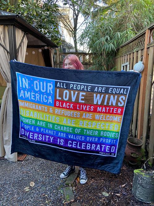 "Rainbow-licious In Our America Flag 60"" x 50"" Throw Blanket"
