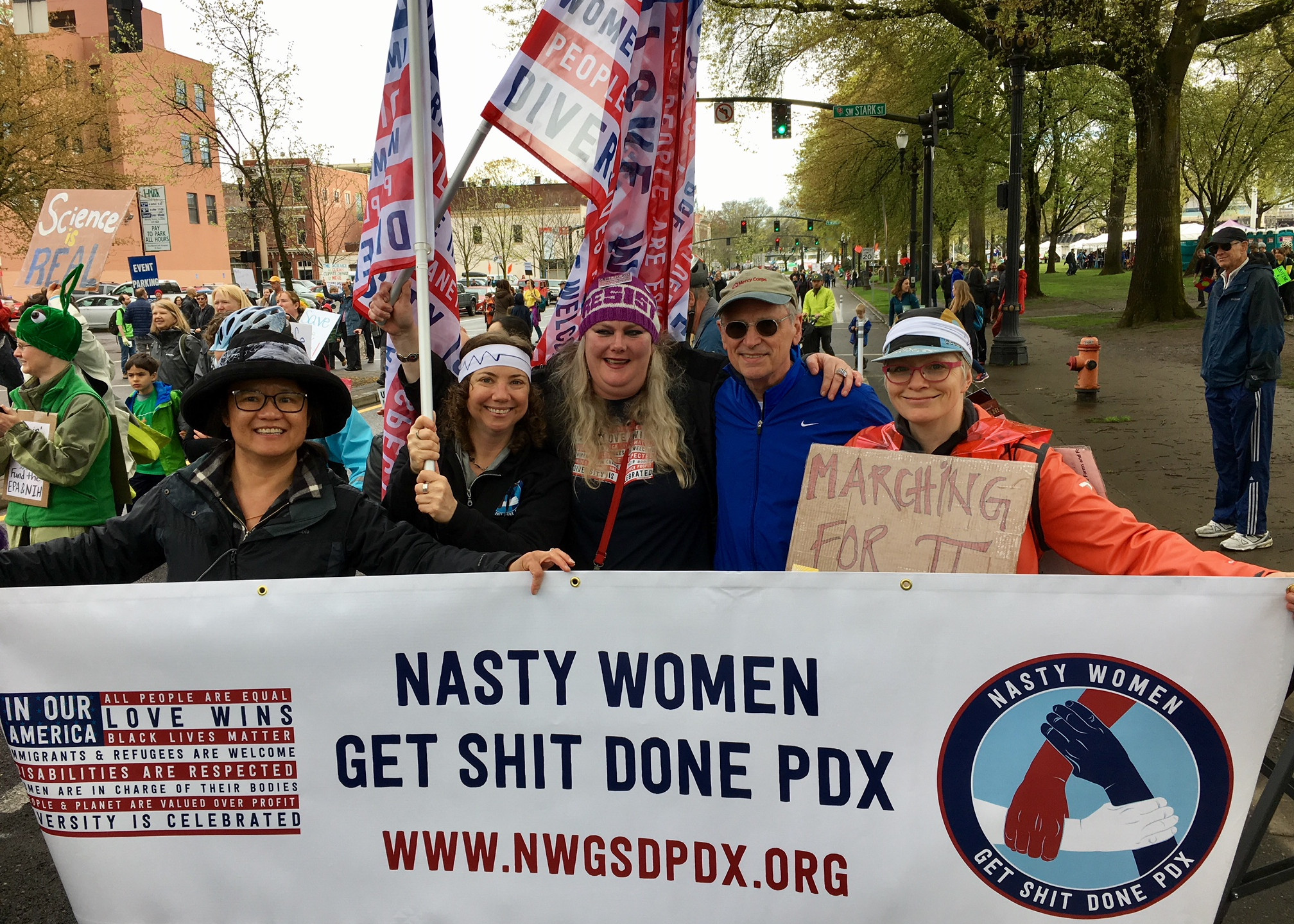 Rep. Earl Blumenauer joined Nasty Women Molly Lee, Ali King, Kirsten Hunter, and Michelle Johnson at the March for Science.