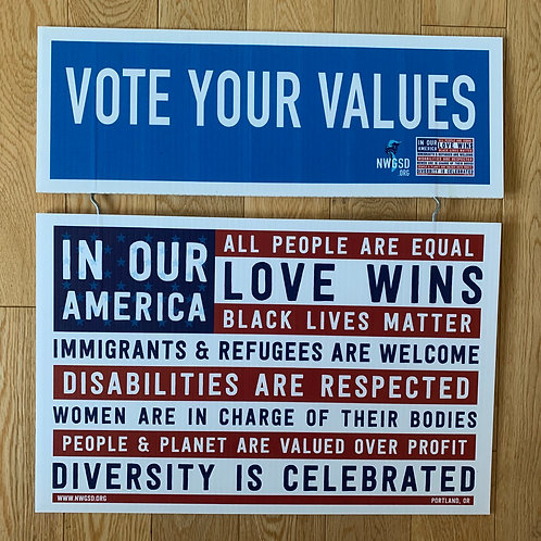 Vote Your Values Topper + Window Signs Pack
