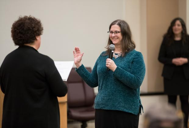 Jennifer McGuirk being sworn in