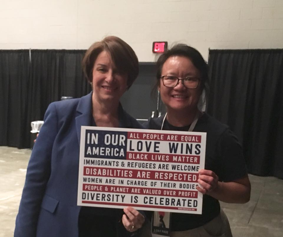 Amy Klobuchar cheered the grassroots activism sparked by the Women's March.