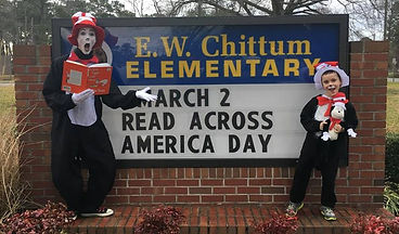 Yearly tradition to read to kids as The Cat in the Hat for Read Across America Day.