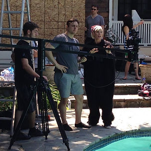 "Tracey B Wilson directing and starring in the award winning short film ""Flying Monkeys."" 48 Hour Films, Buffalo"
