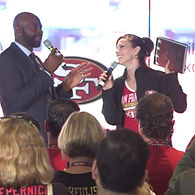 Live event host Tracey B Wilson talks to Jerry Rice about his new SuperBowl book 50 moments in 50 years
