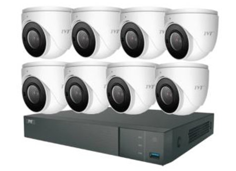 TVT 16CH 8MP PoE NVR+4TB + 8x8MP Mini Eyeball 3.6mm Kit