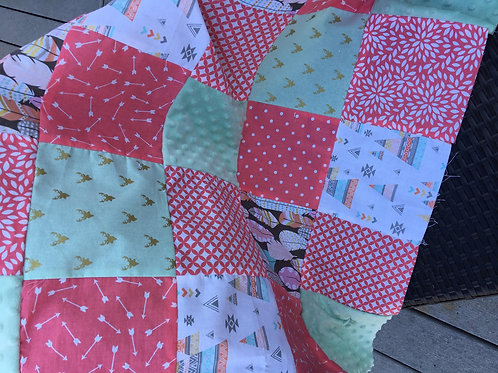 """""""Ready to Personalize""""  Girl TeePee/Deer Play Quilt"""