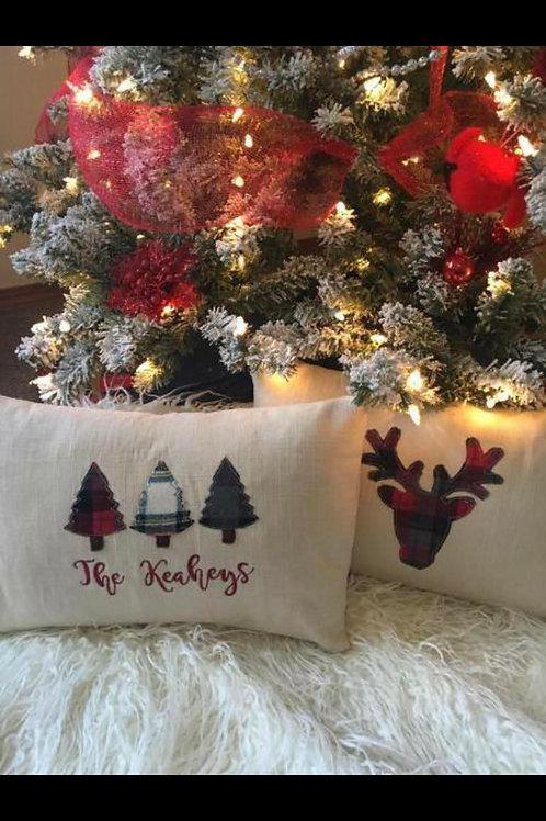 Plaid Trees or Deer Pillow
