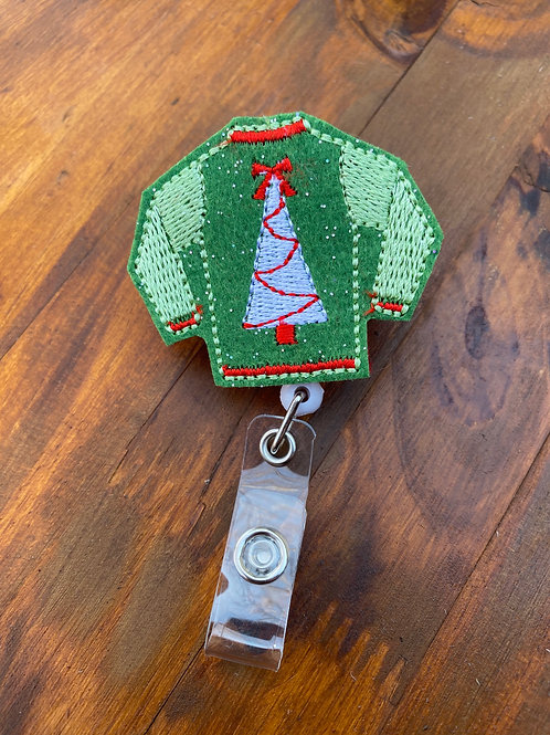 Ugly Christmas Sweater Retractable Badge Reel