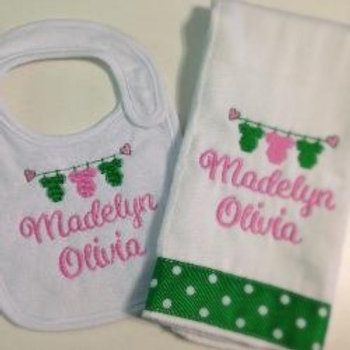 Design Your Own Baby Rag/ Bib Set with First and Middle Name