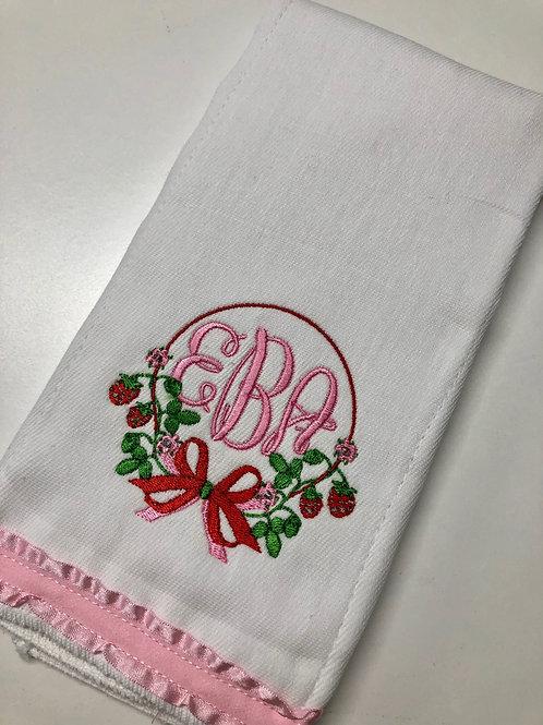 EBA Strawberry Baby Rag W/ Ruffle Trim