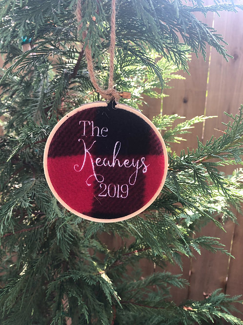 Personalized Christmas Hoop Ornament