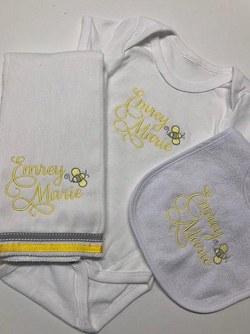 Emrey Bee Baby Rag/Bib/Onesie Gift Set