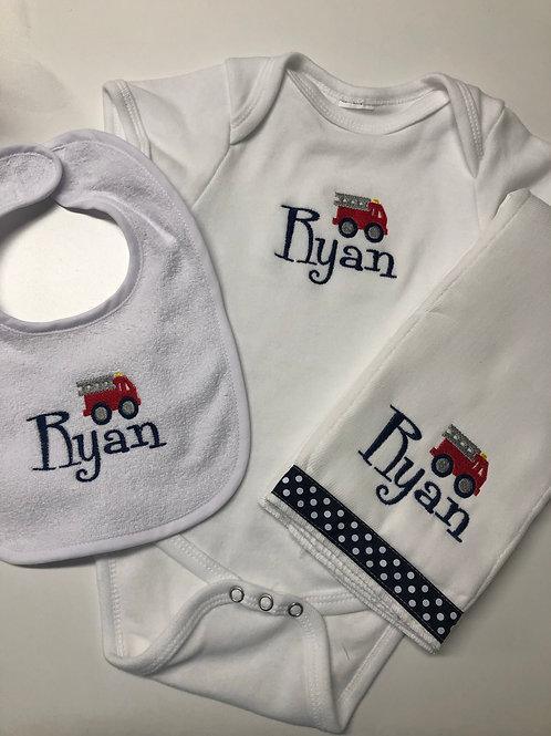 Ryan Fire Truck Baby Rag/Bib/Onesie Gift Set