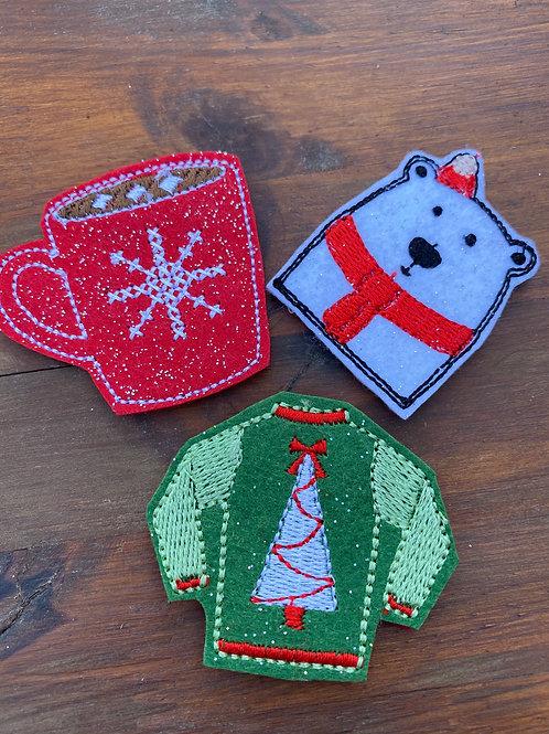 Set of 3 Christmas Crafting Felties