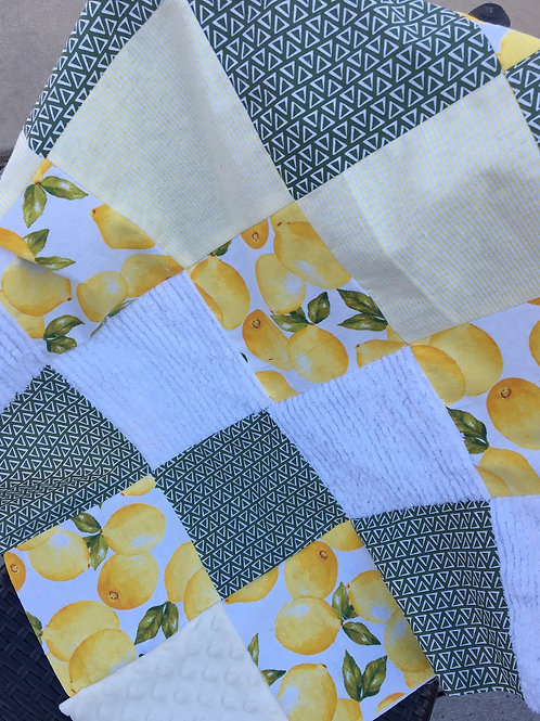 """""""Ready to Personalize""""  Lemons/Chenille Play Quilt"""
