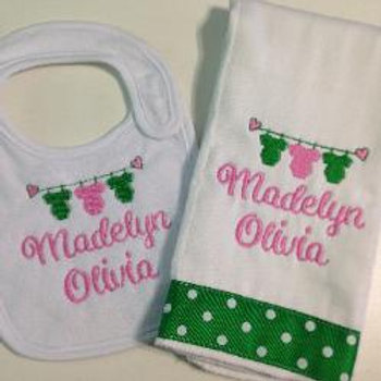 Design Your Own Baby Rag/Bib Set with First Name and Middle Name