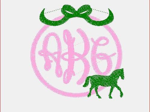 Horse/ Bow Monogram Baby Rag