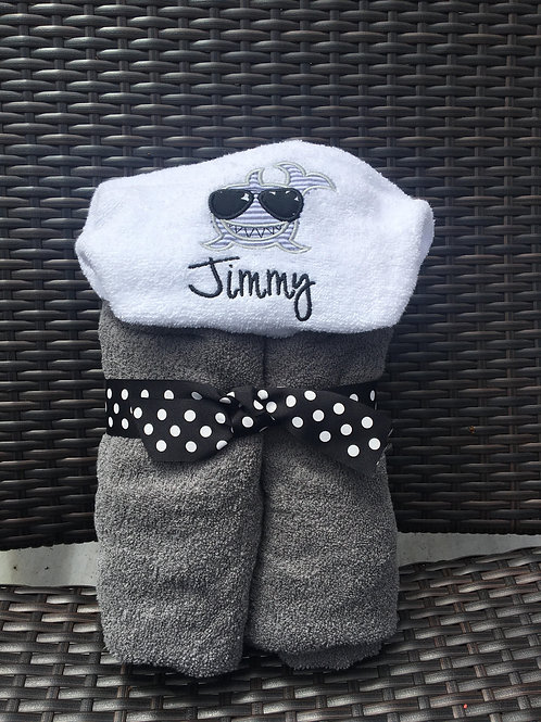 Jimmy Shark Hooded Towel/ Personalized on the Hood