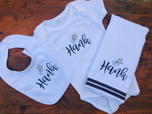 Hank Baby Rag/Bib/Onesie Gift Set