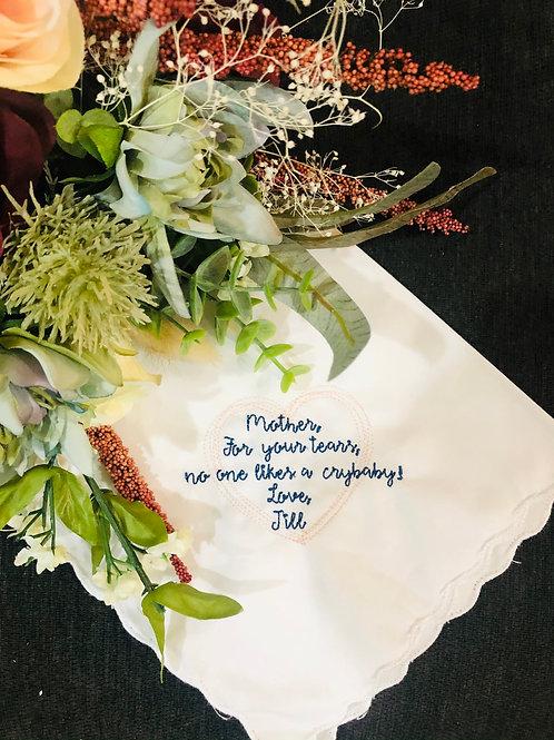 Custom Wording Personalized Wedding Handkerchief
