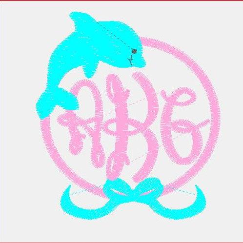 Dolphin/ Bow Monogram Baby Rag