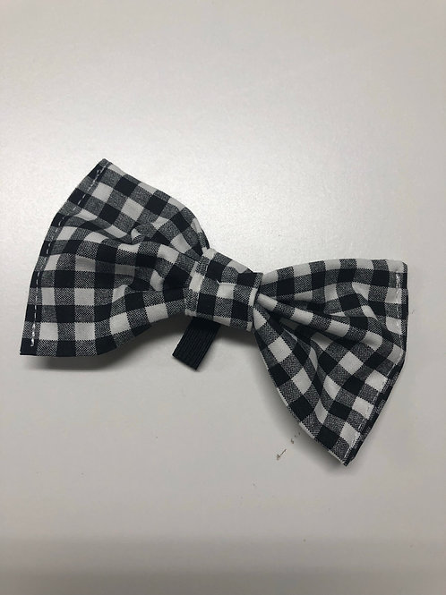 Black/White Checks Pup Bow Tie