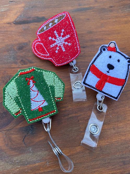 Set of 3 Winter Retractable Badge Reels