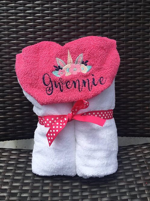 Gwennie Unicorn Hooded Towel/ Personalized on the Hood