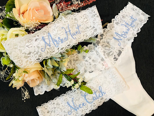 Personalized Thong &  2 Garters Set