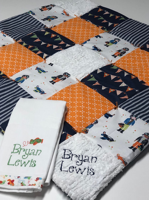 Custom Play Quilt and Baby Rag Bundle