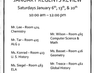 January Regents Review Dates and Times