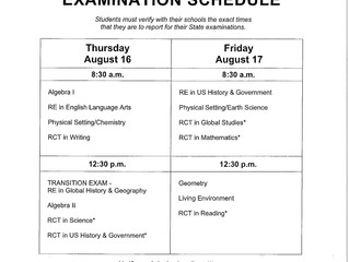 August 2018 Regents Exam Schedule
