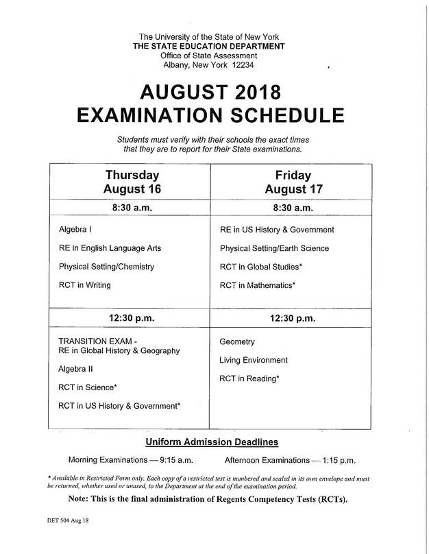 August 2018 Regents Exam Schedule