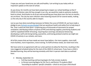 Important Update on In-Person Learning Start Dates