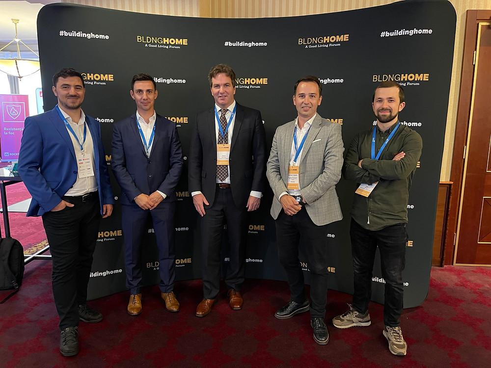 RoGBC și partenerii săi la Building Home 2021, de la dreapta la stânga: Miradex, Rockwool, Somfy și Danfoss