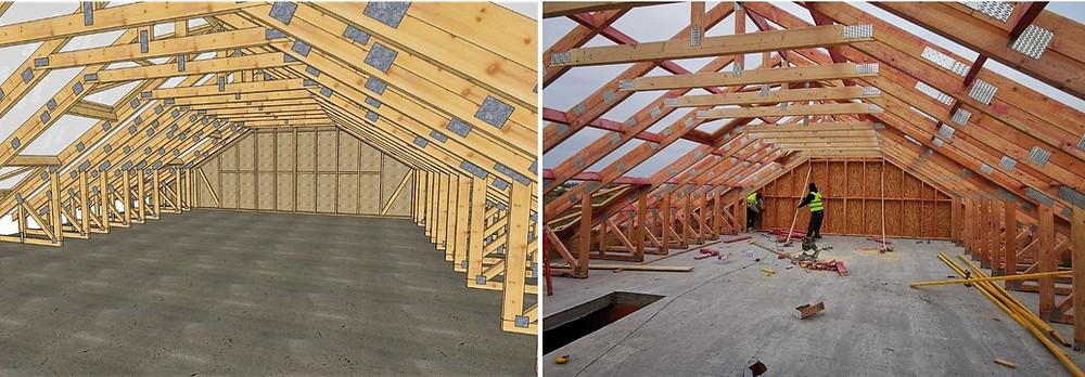 De la proiectarea fermelor din lemn pentru mansarda la montajul în realitate by Miradex Wooden Buildings