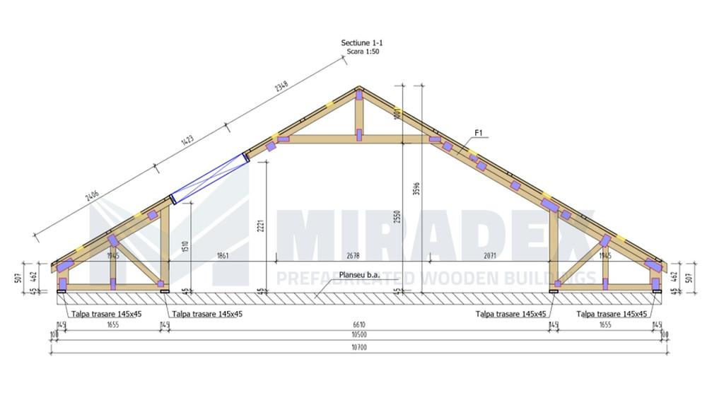 Proiectarea structurii mansardei din ferme prefabricate by Miradex Wooden Buildings