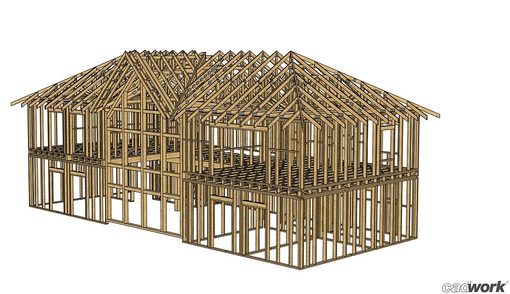 Folosim softul de proiectare dedicat structurilor de lemn - cadwork - pentru a proiecta în cel mai mic detaliu structuri pentru case de lemn, case timnberframe, case prefabricate din lemn, clădiri comerciale sau de agrement din lemn și multe alte construcții din lemn