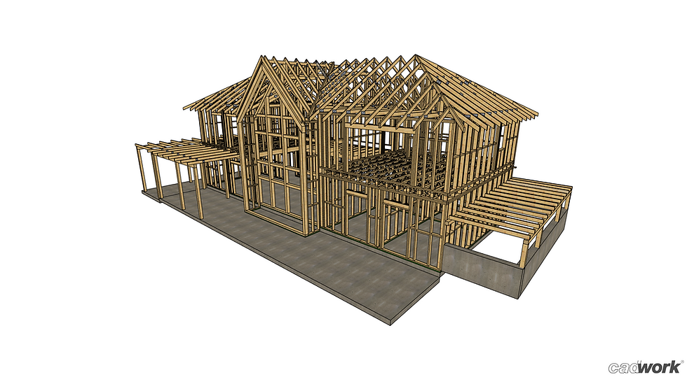 Structura de lemn proiectata in sistem timberframe de Miradex Wooden Buildings