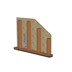 Sectiune perete exterior la rosu al unei case pe structura de lemn in sistem timberframe by Miradex Wooden Buildings