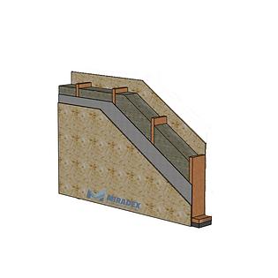 Sectiune perete exterior placat cu OSB al unei case pe structura de lemn in sistem timberframe by Miradex Wooden Buildings