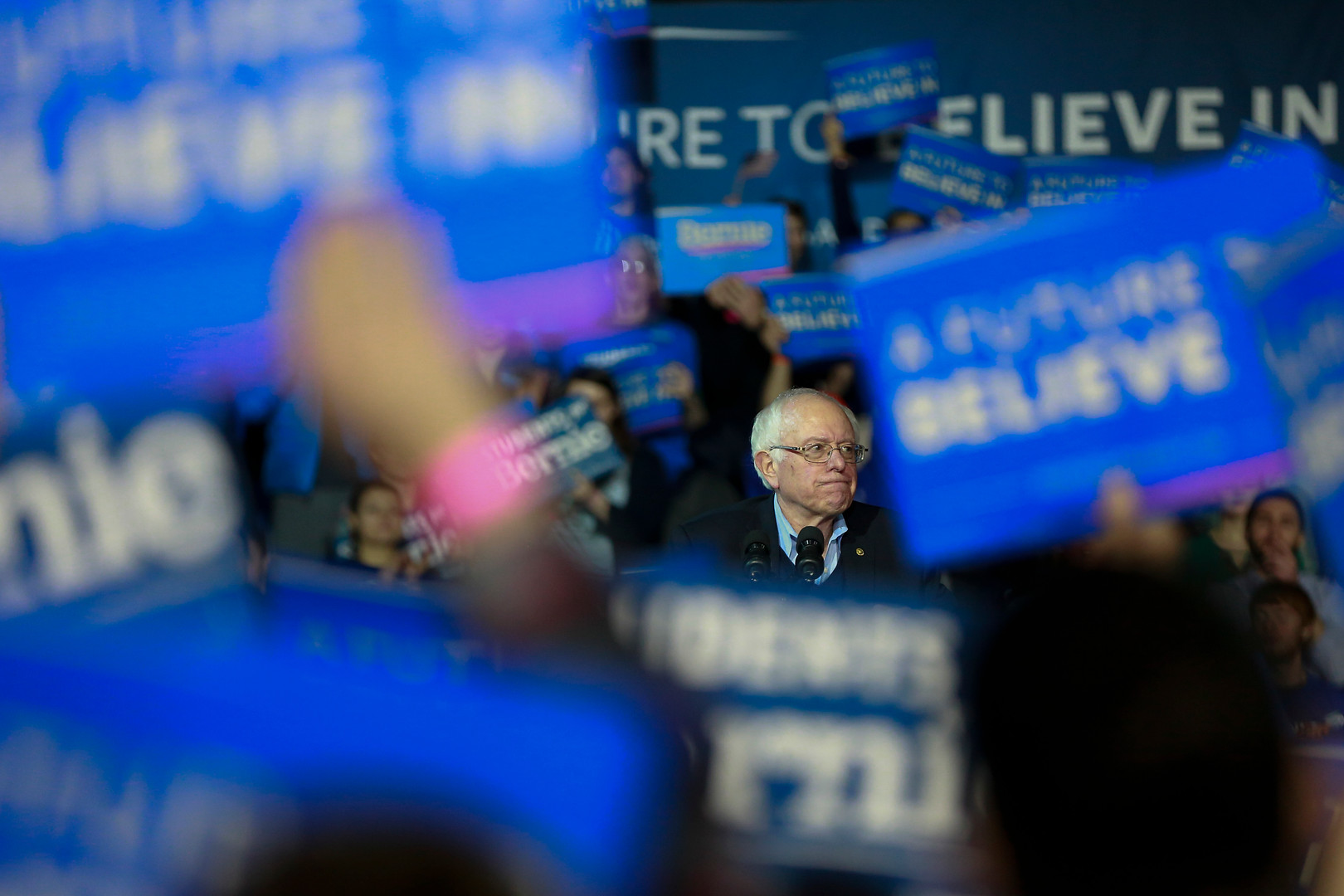 Bernie Sanders at a rally in New Hampshire during the 2016 Presidential Primaries