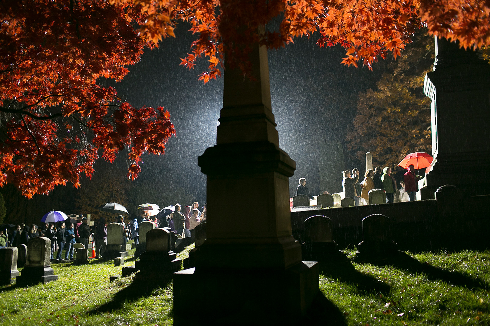 Hundreds of people waited through the rain to pay homage to suffragist Susan B. Anthony's gravsite on election day 2016