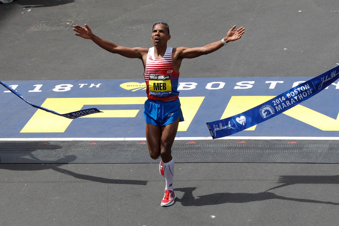 Meb Keflezighi won the Boston Marathon in 2014 becoming the first American male to win since 1982