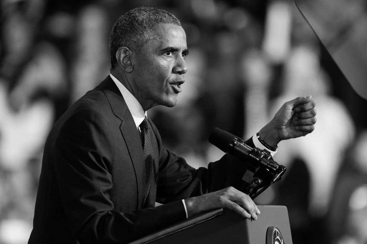 President Obama addresses a crowd in Rhode Island 2015